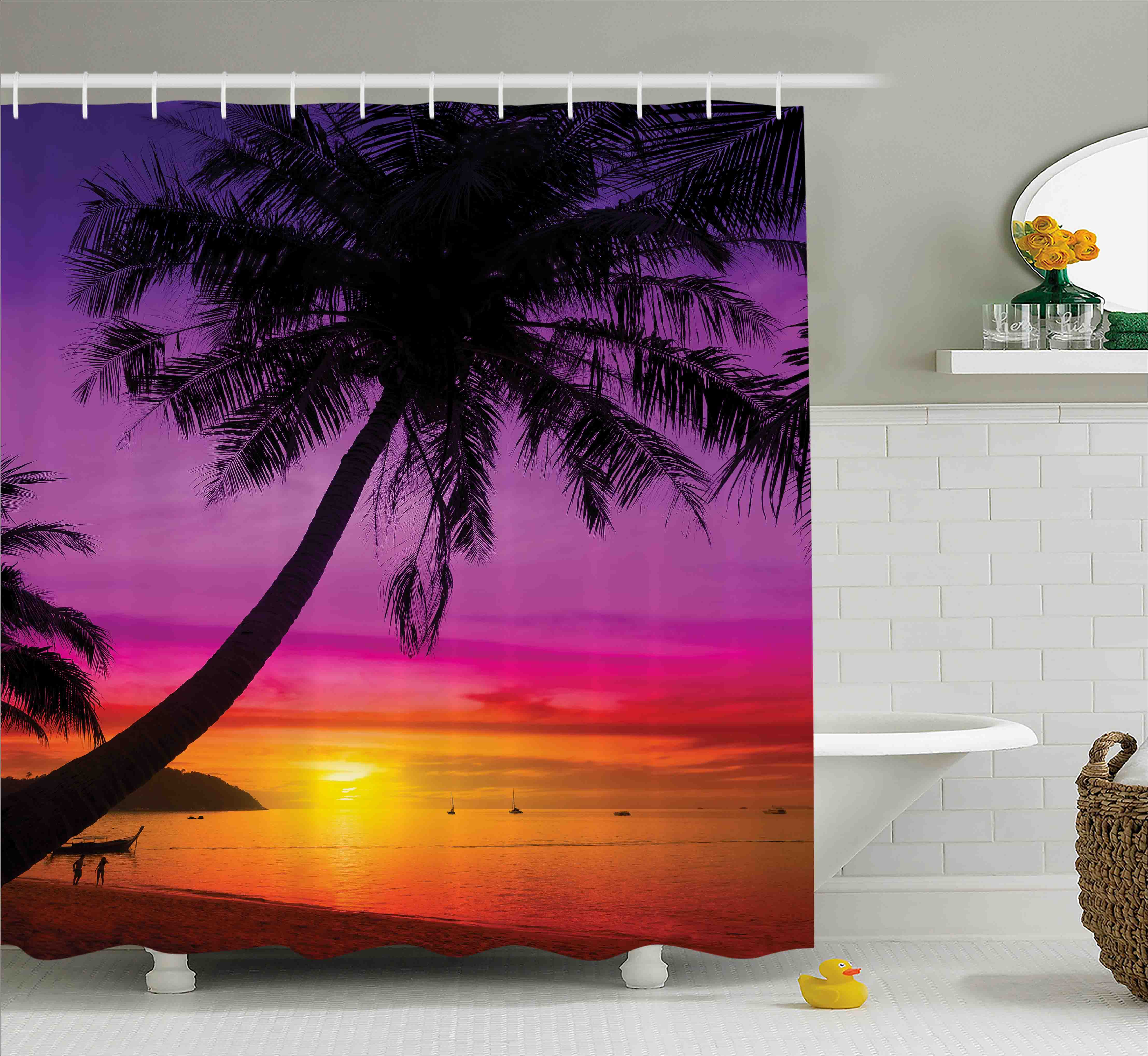 Tropical Decor  Palm Tree Silhouette On Tropical Beach At...