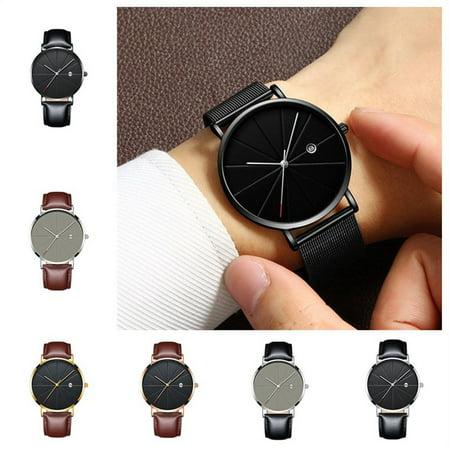 Brand New Fashion Simple Watch Calendar Slim Men'S Business Belt Watch Quartz Watch - image 1 de 6