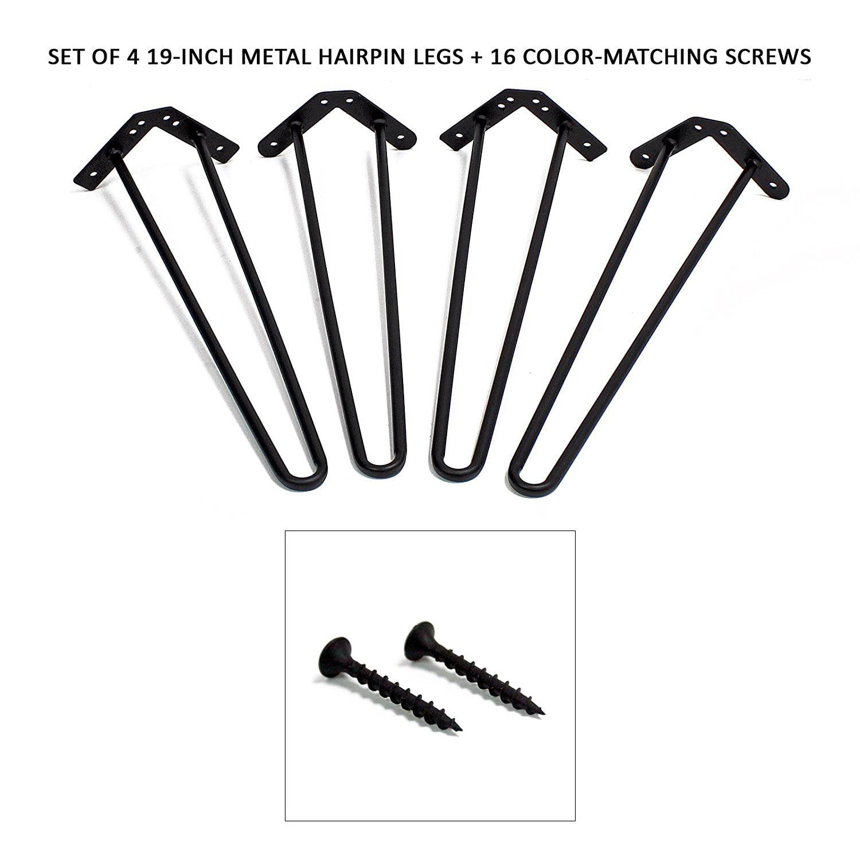 "WELLAND 4-PC 19"" Metal Hairpin Legs w/ 16 Screws"