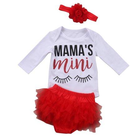 Newborn Baby Girls Eye Word Print Long Sleeve Romper + Short Dress Pants with Headband Outfit