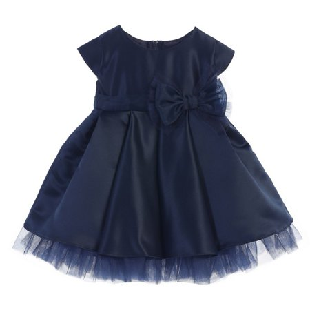 Baby Girls Navy Satin Full Pleated Bow Accent Christmas Dress 6-24M](Navy Dresses For Girls)