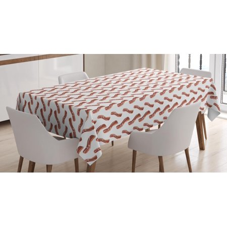 Bacon Tablecloth, Delicious High Protein and Fat Meal Pattern on White Background, Rectangular Table Cover for Dining Room Kitchen, 52 X 70 Inches, Pale Maroon Burnt Orange White, by Ambesonne