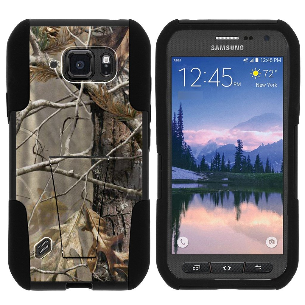 Samsung Galaxy [S6 Active model] G890 STRIKE IMPACT Dual Layered Shock Resistant Case with Built-In Kickstand by Miniturtle® - Fallen Leaves Camo