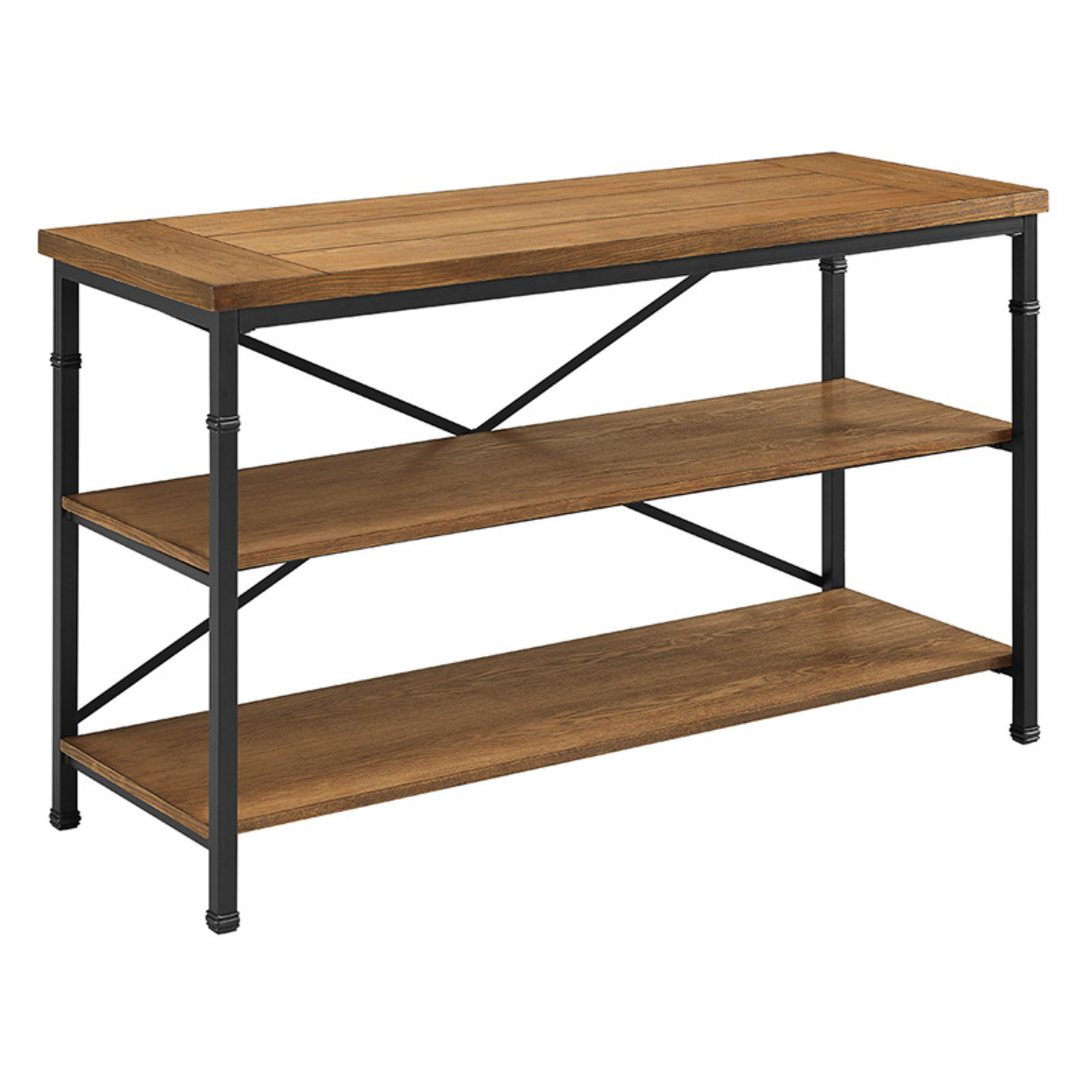 Linon Austin TV Stand, TVs up to 52 inches, Black & Ash Veneer