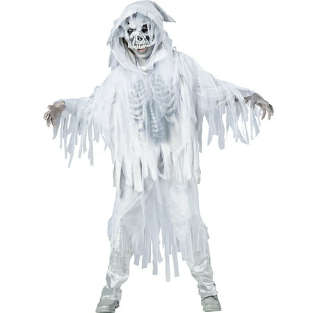 Halloween White Ghost Costume (Haunting Spirit White Skeleton Ghost Ghoul Boys Child Halloween)