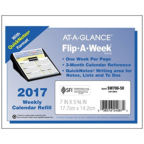 At A Glance Sw70650 Flip A Week With Quicknotes Weekly