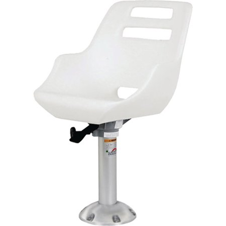 Springfield Admiral Fixed Height Chair Package, White (Includes Seat with Low Profile Armrest, No Cushions, Pedestal with Floor Base, Mounting Plate and Locking (Admiral Chair)