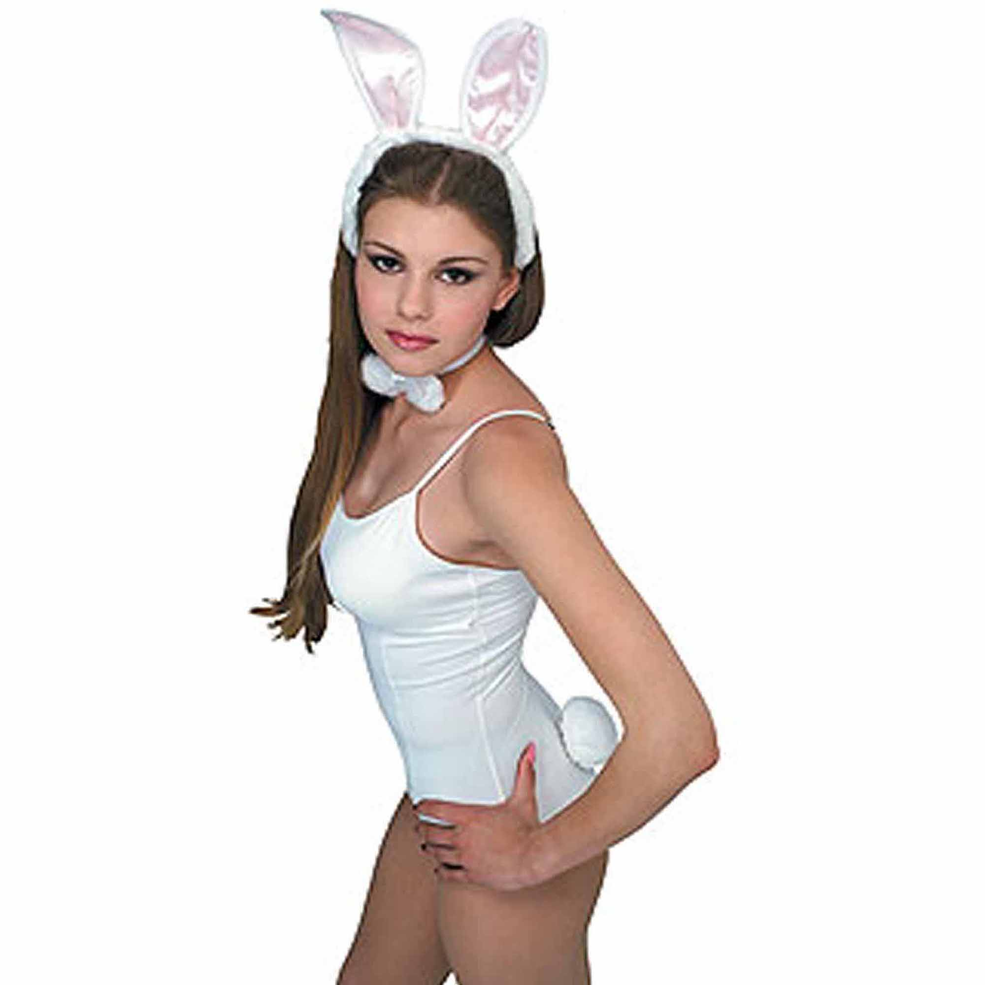 White/Pink Bunny Accessory Kit Adult Halloween Costume Accessory