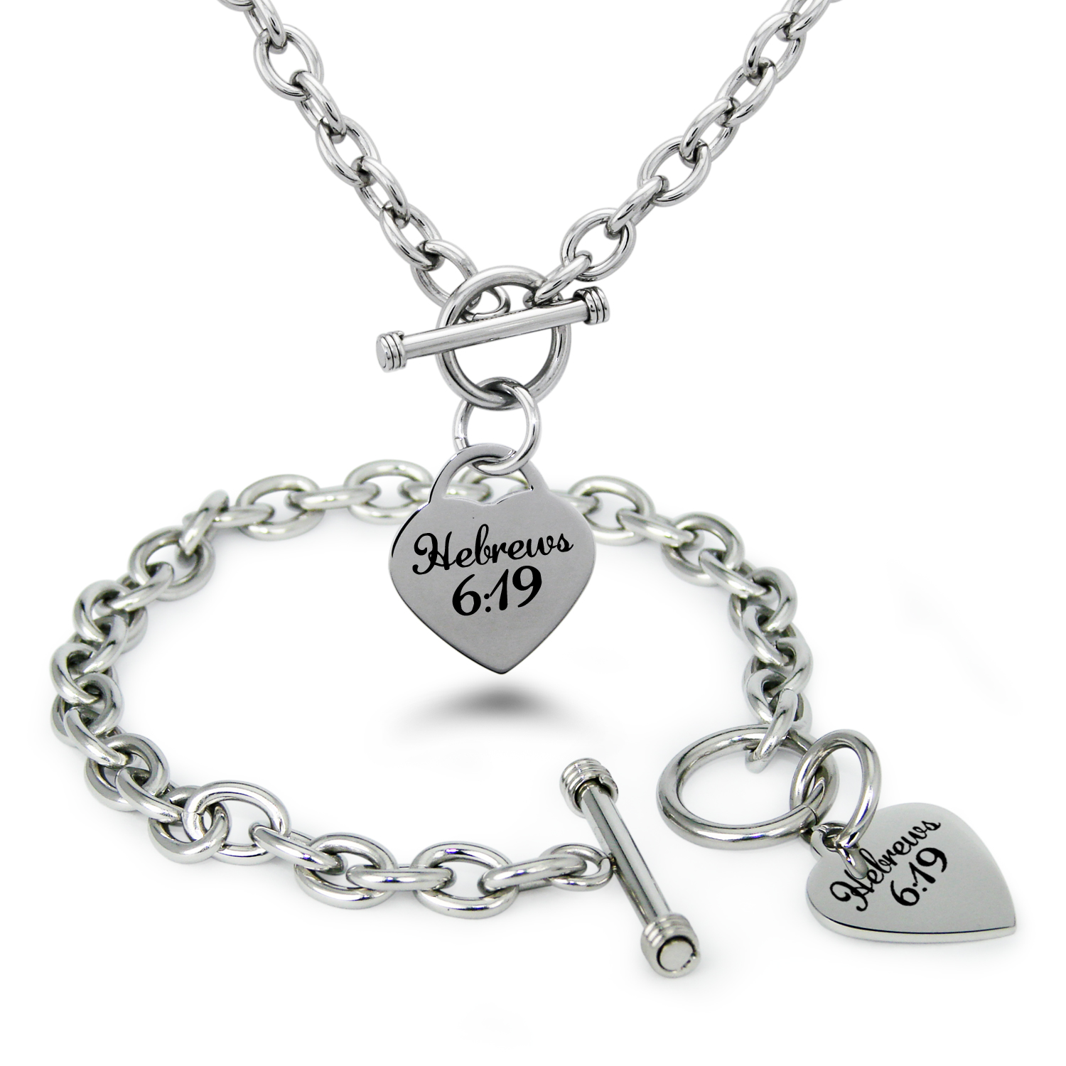 Stainless Steel Hebrews 16:9 Bible Verse Heart Charm Toggle Bracelet & Necklace