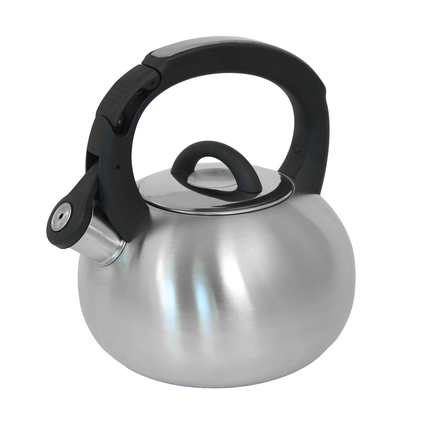 Mr. Coffee Piper Shine 2 Qt Whistling Tea Kettle, Brushed Stainless Steel