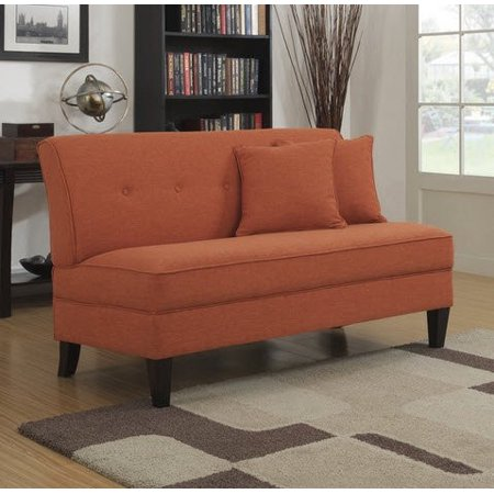 Portfolio Engle Modern Orange Linen Armless Loveseat Settee Small Sofa