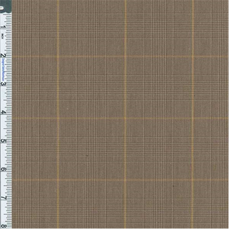 Golden Brown Glen Plaid Suiting, Fabric Sold By the