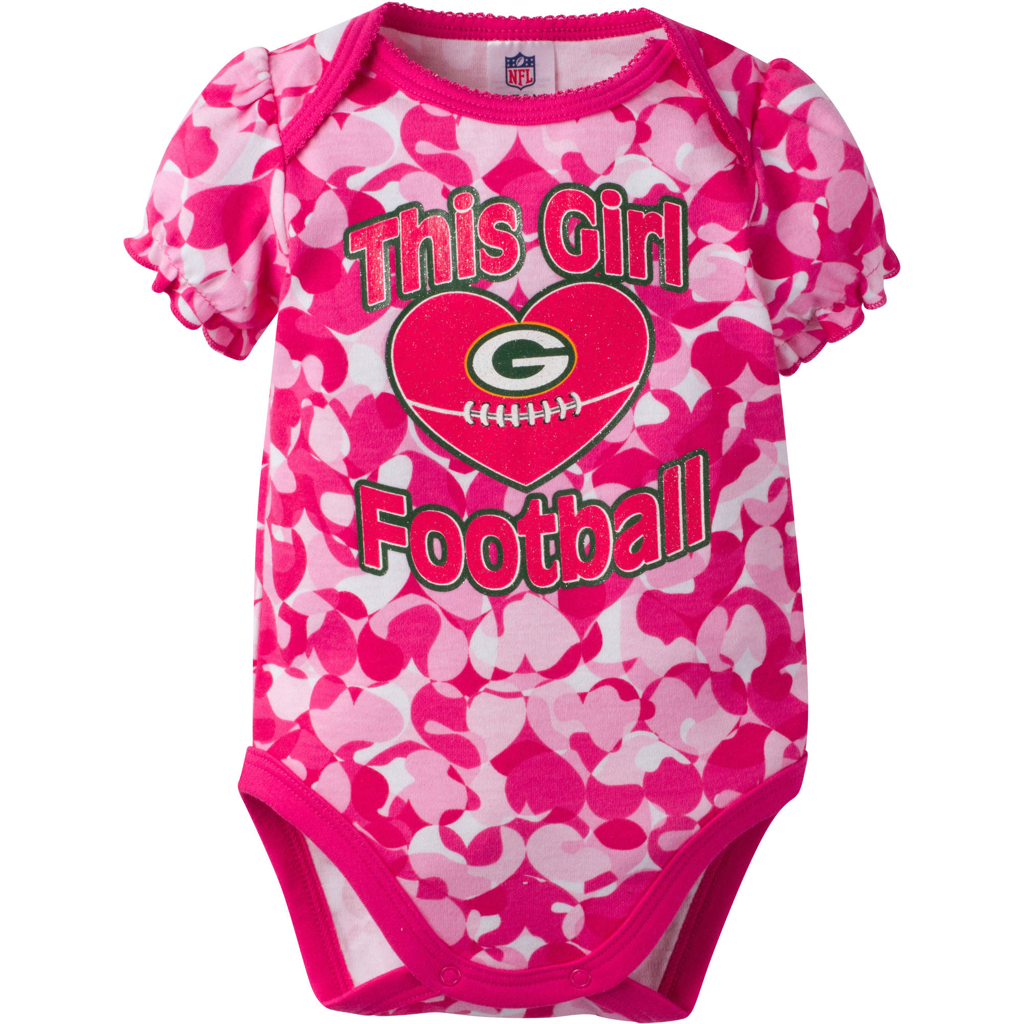 NFL Green Bay Packers Baby Girls Short Sleeve Heart Camo Bodysuit