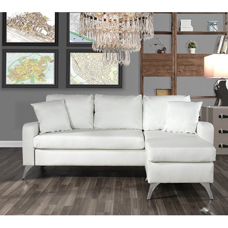 Bonded Leather Sectional Sofa - Small Space Configurable Couch (White)