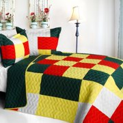 Ixora Chinensis 3PC Cotton Vermicelli-Quilted Patchwork Plaid Quilt Set-Full/Queen Size