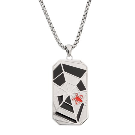 Spider-Man Men's Stainless Steel Dog Tag Pendant, 22](Spiderman Jewelry)