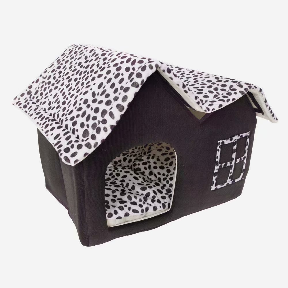 Soft Indoor Dog Houses Pets Sponge Material Portable and Great for Transportation and Short outings (M, Coffee)
