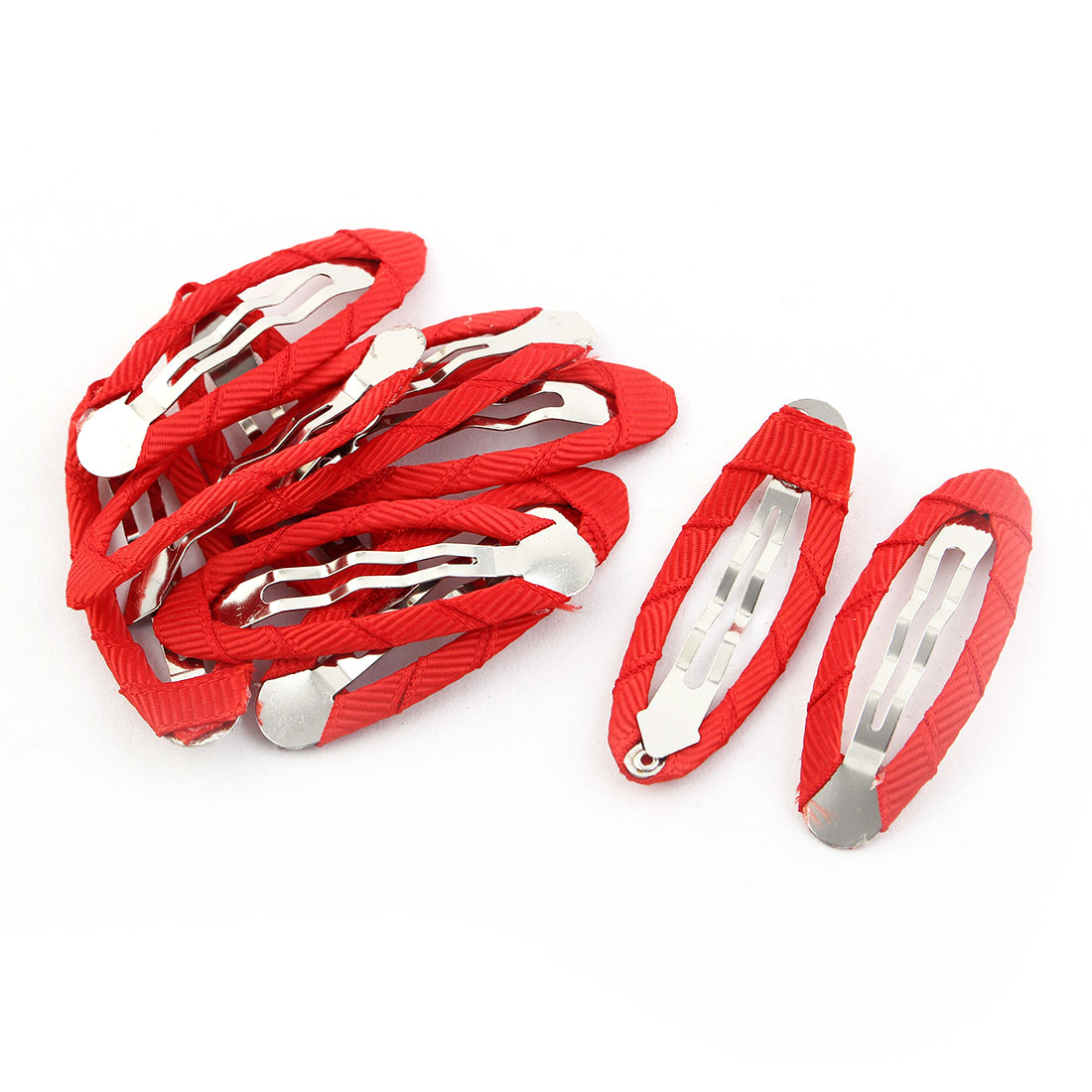 Girls Metal Synthetic Fabric Wrapped DIY Snap Hair Clips Barrettes Red 10pcs