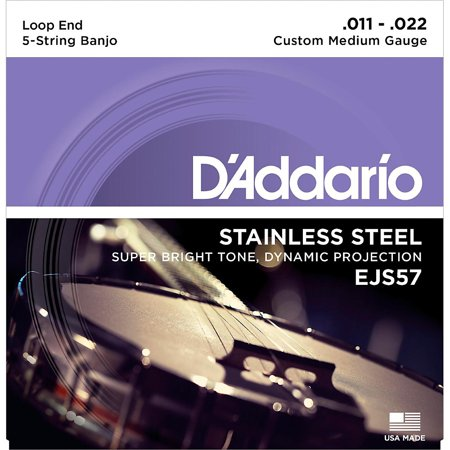 D'Addario EJS57 Stainless Steel Custom Medium 5-String Banjo Strings (11-22)