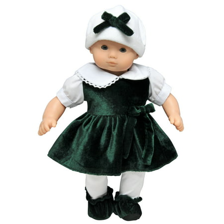 15 Inch Baby Doll Clothes, Bitty Green Velvet Dress, Tights, Booties, Hat Clothing Outfit