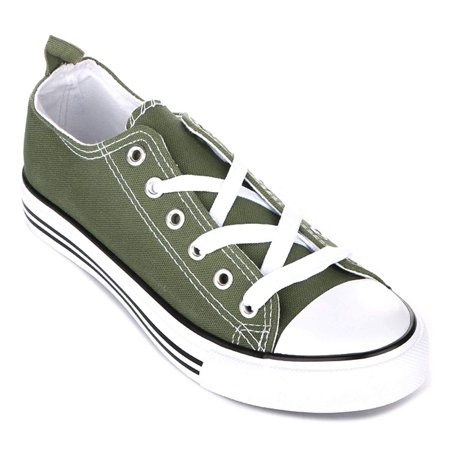 Kids Low Top Sneaker Lightweight Canvas Shoes Toddler/Little Kid Boy Girl Classic Slip On (8 Toddlers, Olive Kids Sneakers)