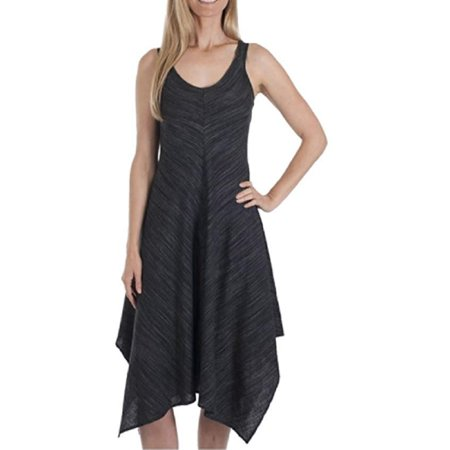 Fever Women's Linen Blend Hanky Hem Sleeveless Dress (Charcoal, Large)