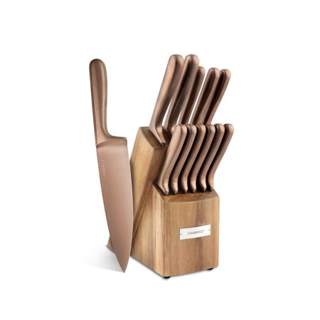 Cambridge Silversmiths Rame Copper 12-Piece Cutlery Set with Block