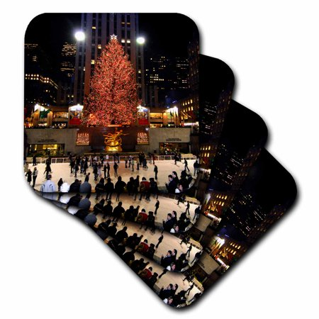 - 3dRose Christmas lights at Rockefeller Center in New York, Soft Coasters, set of 8