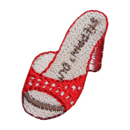 Out Embroidered Patch - ID 8543 Steppin' Out High Heel Shoe Patch Sandal Embroidered Iron On Applique