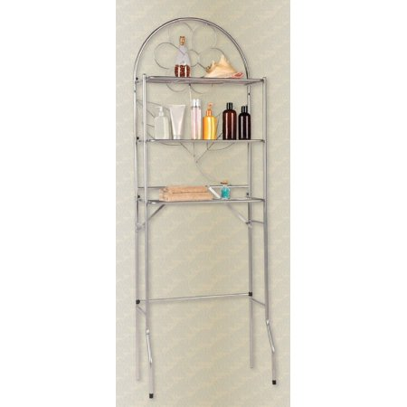 over the toilet bathroom space saver 3 shelf etagere silver. Black Bedroom Furniture Sets. Home Design Ideas