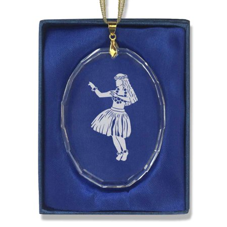 Oval Crystal Christmas Ornament - Hula Dancer Woman