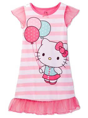 Hello Kitty Girls' Pink Dorm Nightgown, Gown, Striped Pink, Size: 2T