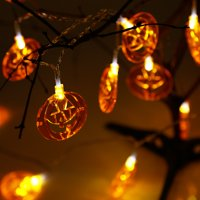 TORCHSTAR 20 LEDs String Lights, Holiday Decorative Lights with 3D Flat Pumpkins
