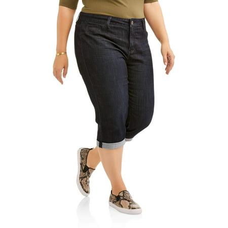 Women's Plus Size Cropped Roll Cuff Capri Jean (Cuff Denim Capris)