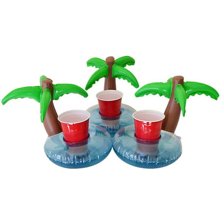 GoFloats Inflatable Palm Island Drink Holder, 3-Pack, Float your drinks in style