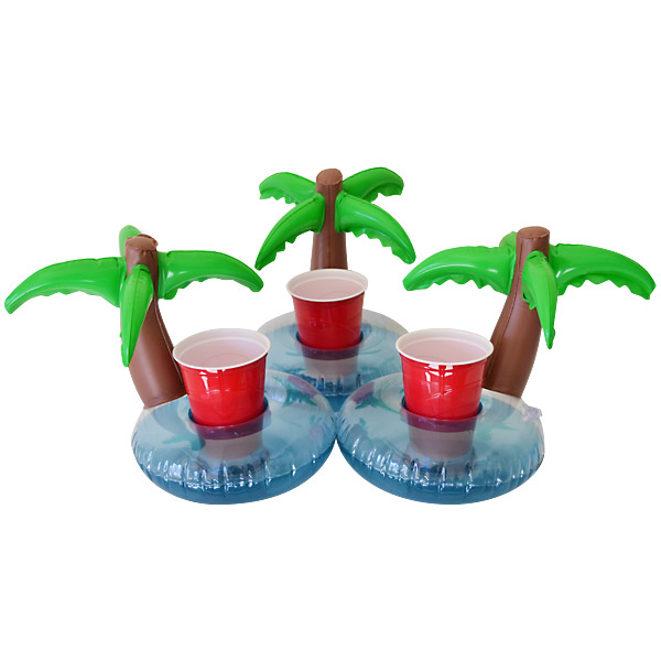 GoFloats Inflatable Palm Island Drink Holder, 3 Pack, Float Your Drinks In  Style