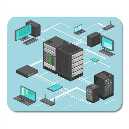 SIDONKU Arrow File Data Network Management Isometric Map with Networking Servers Computers and Device Cloud Flat Mousepad Mouse Pad Mouse Mat 9x10 inch