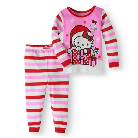 hello kitty christmas newborn baby girl cotton tight fit pajamas 2pc set walmartcom