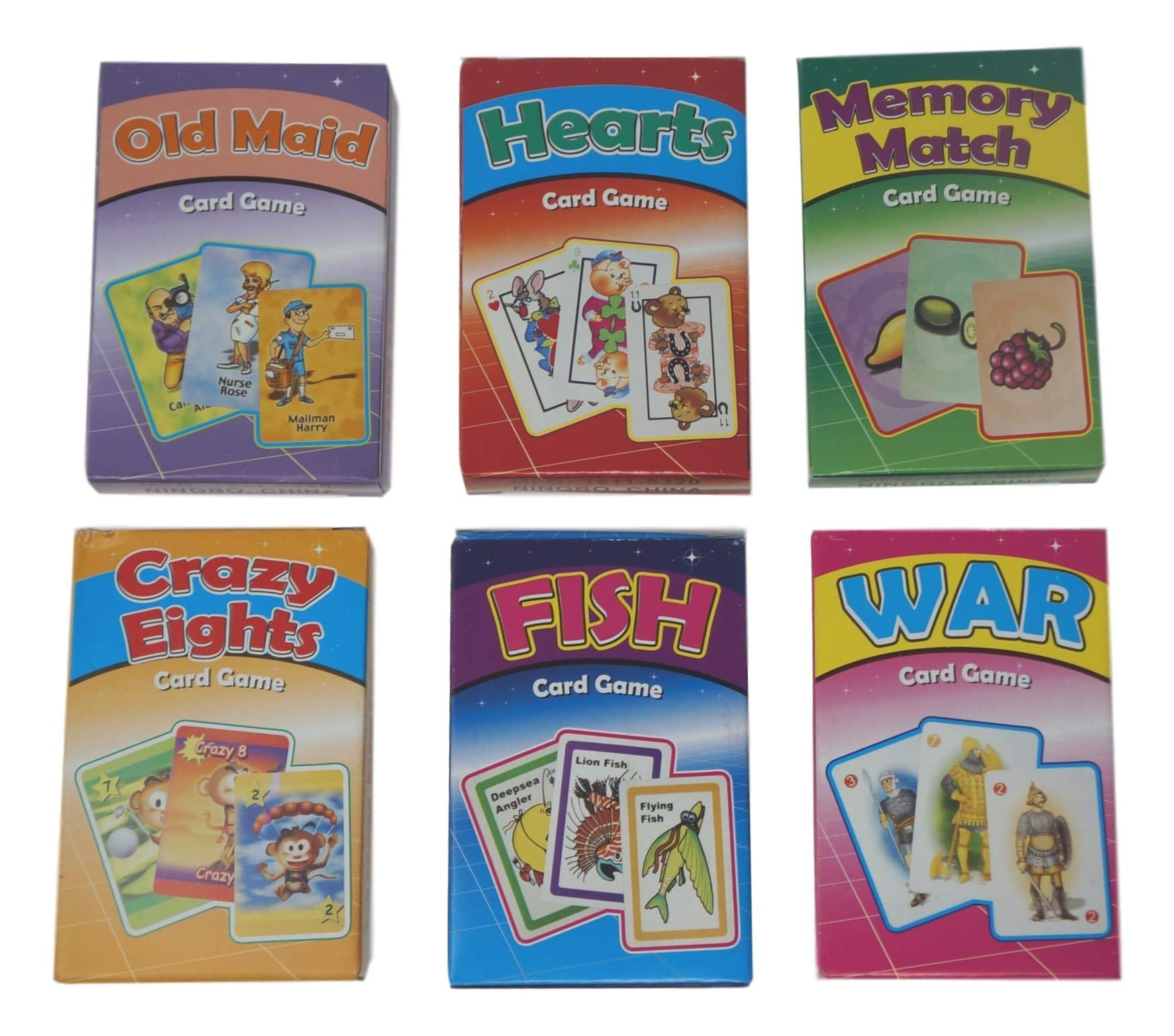 9 NEW DECKS OF OLD MAID GO FISH AND HEARTS CARD GAMES KIDS  PARTY FAVORS