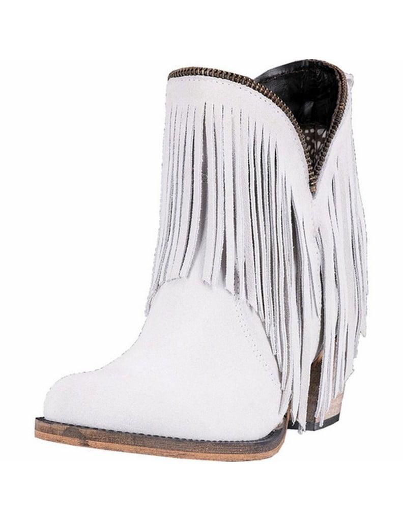 "Dingo Fashion Boots Womens 6"" Juju Cowboy Heel Suede White DI7451 by Dingo"