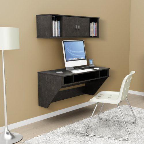 Prepac Designer Floating Desk with Optional Hutch - Black