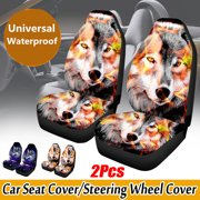 1/2PCS Universal Wolf Pattern Car Seat Covers Auto Interior Accessories Seat Protector Fit for Car/Truck/Van/SUV, Airbag Compatible