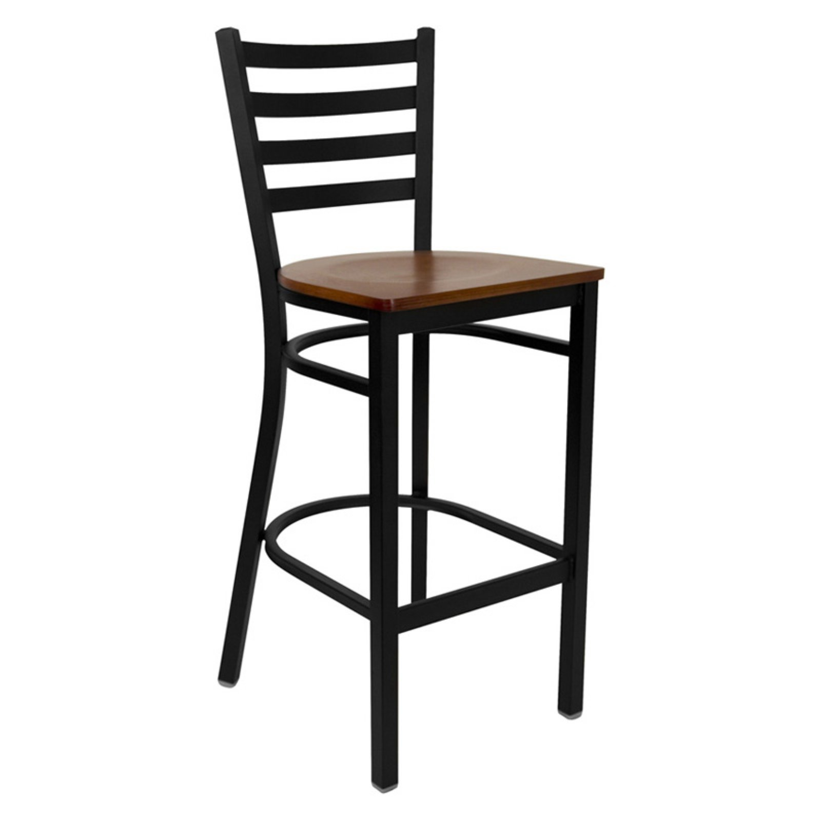 "Metal Ladder Back Bar Stool 29"", Black and Cherry"