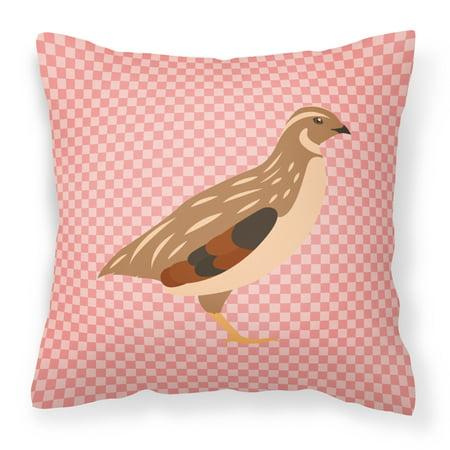 Golden Phoenix Quail Pink Check Fabric Decorative Pillow ()