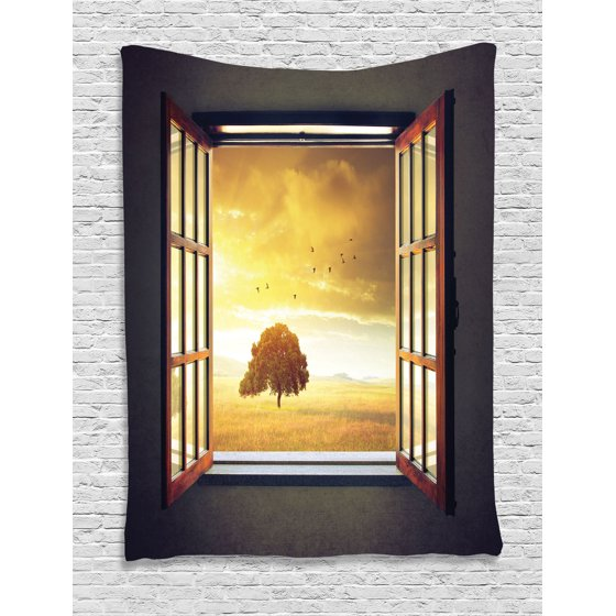 House Decor Wall Hanging Tapestry, Looking Out An Open Window To A ...