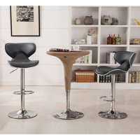 Roundhill Masaccio Cushioned Leatherette Upholstery Airlift Adjustable Swivel Barstool with Chrome Base, Set of 2, Multiple Colors Available