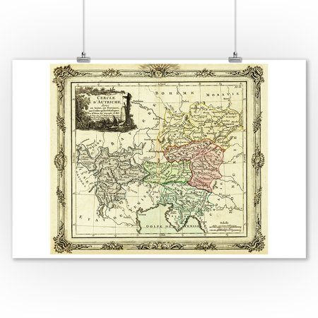 Roman Decor (Austrian Circle of the Holy Roman Empire - Panoramic Map (9x12 Art Print, Wall Decor Travel)
