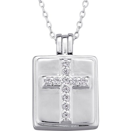 CZ Sterling Silver Square Cross Locket Pendant, -