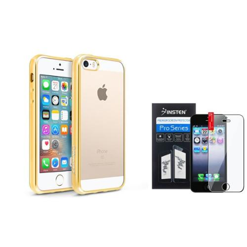 BasAcc Clear Soft TPU Back Cover with Gold Chrome Edge Bumper For iPhone SE 5S 5 (+ Screen Protector)