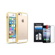 BasAcc Clear Soft TPU Back Cover with Gold Chrome Edge Bumper For iPhone SE 5S 5 (+ Screen Protector) (2-in-1 Accessory Bundle)